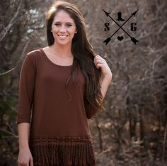 Crochet trim turquoise tunic from Southern Grace. Perfect to wear under any of our Southern Grace T's ( t shirt shown for display purposes and NOT included in t
