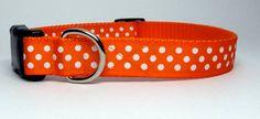 Orange and White Polka Dot Dog Collar by KibblesandCollars on Etsy