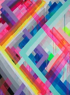 Maya Hayuk, INTERLOCKING BOXES 052, 2014, unique, Acrylic on panel, 91.4 x 122 cm