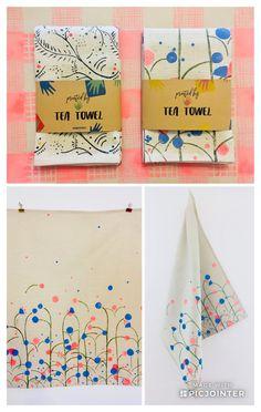 Tea Towel, Printed by Hand/ Wunderwuz Tea Towels, Printed, Creative, Dish Towels, Prints, Flour Sack Towels