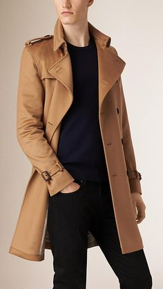 Dark camel Sandringham Fit Cashmere Trench Coat
