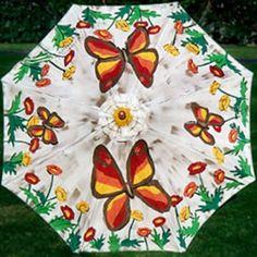 Butterflies Hand-Painted Patio Umbrella - $489.00