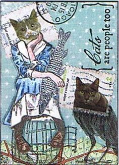 "so here´s my ATC for today´s TMTA challenge ""odd creatures"". Altered Books, Altered Art, Art Trading Cards, Postage Stamp Art, Envelope Art, Atc Cards, Up Book, Mail Art, Stamp Collecting"