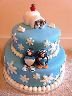 Penguin Wedding Cake with Bride & Groom Penguin