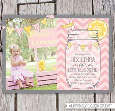 Pink Lemonade Invitation Printable - Chevrons - Mason Jar - Bunting - Lemonade Stand Birthday Party Invite - Bridal Shower -. $16.00, via Etsy.
