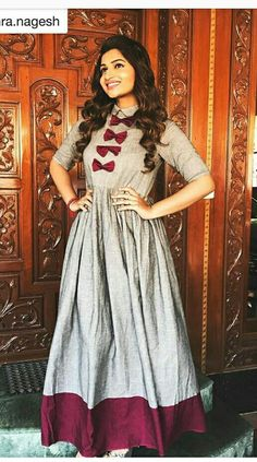 What color matches with gray? Kurti Neck Designs, Dress Neck Designs, Kurti Designs Party Wear, Salwar Designs, Long Gown Dress, Saree Dress, Frock Fashion, Fashion Dresses, Indian Designer Outfits