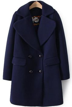 Navy Lapel Long Sleeve Double Breasted Woolen Coat 5b391e5689db