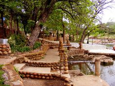 The river walk that goes through the center of beautiful Medicine Park, OK