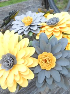 YELLOW & GREY Gerber Daisy Paper Flower Bouquet. Or CHOOSE Your Colors. Gerbera. Centerpiece, Wedding, Anniversary, Birthday Gift by TreeTownPaper on Etsy