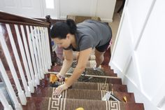Stair Runner Install DIY Style | Living Quarters on a Dime - for upstairs stairway and basement stairway
