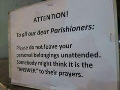 Attention Parishioners