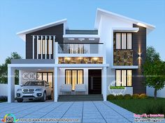 1750 square feet 4 bedroom modern contemporary house architecture by Dream Form from Kerala. Flat House Design, House Roof Design, 2 Storey House Design, House Outside Design, Modern Exterior House Designs, Kerala House Design, Home Building Design, Bungalow House Design, Modern House Plans