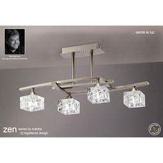 Mantra Zen 4 Light Halogen Ceiling Fitting In Satin Nickel Finish - Mantra from Castlegate Lights UK Lighting Uk, Semi Flush Lighting, Lighting Showroom, Pendant Lighting, Chandelier, Ceiling Light Design, Ceiling Lamp, Wall Lights, Ceiling Lights