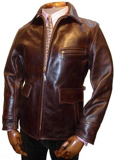 Long Half Belt steerhide leather jacket - Aero Leathers, UK