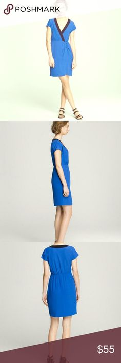 J. Crew Jessie Dress J. Crew Jessie dress, faux wrap styling with side zip in gorgeous cobalt blue with black trim. Soft 100% rayon and fully lined. Super flattering shape perfect to go from office to happy hour! EUC, no signs of wear. Bundle & SAVE! J. Crew Dresses
