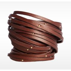 Linea Pelle Double Wrap Sliced and Studded Bracelet - Polyvore