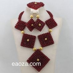 6 Beads Pendant African Nigerian Indian Crystal Beads Necklace Set wine and Gold