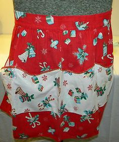 Vintage Christmas Holiday Red Half Apron Holly Candycanes Presents