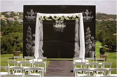 Chalkboard backdrop for ceremony focal point.