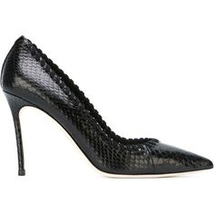Dsquared2 whipstitch trim pumps ($840) ❤ liked on Polyvore featuring shoes, pumps, black, black snakeskin pumps, black shoes, pointed-toe pumps, black pointy toe pumps and black pumps