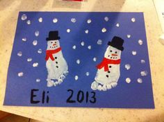 Snowman foot print christmas toddler art art and craft for year old. Christmas Art Projects, Christmas Crafts For Kids To Make, Toddler Christmas, Christmas Activities, Christmas Time, Christmas Ideas, Snow Crafts, Holiday Crafts, Holiday Ideas