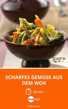 Scharfes Gemüse aus dem Wok Broccoli, Eat Smarter, Vegan, Chinese Food, Japchae, Celery, Serving Bowls, Nom Nom, Cabbage