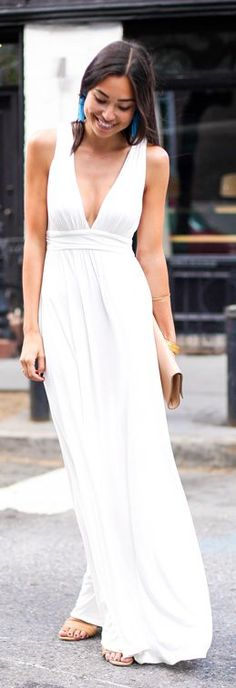 Lovers + Friends White Grecian Inspired Pleated Sleeveless Deep V-neck Maxi Dress