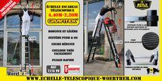 Echelle télescopique de la gamme Grafitek de Woerther 4M40 plus rigide que les échelles classique.