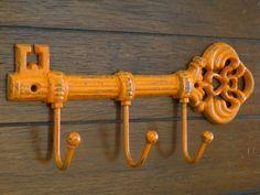 Key Holder / Hook Rack / Skeleton Key Rack / Bright Orange or Pick Color / Key Organizer / Kitchen F Wall Hook Rack, Wall Hooks, Wall Key Holder, Key Organizer, Key Rack, Traditional Decor, Kitchen Organization, Skeleton, Vintage Inspired