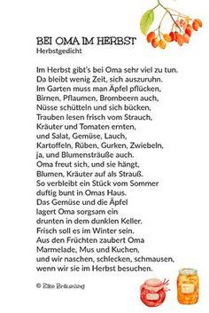 Bei Oma im Herbst. Gedicht von der Ernte im Herbst.