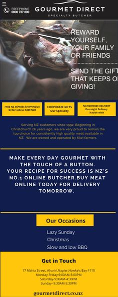 Best butchers available Serving NZ customers since 1992 e are very proud to remain the top choice for consistently high quality meat available in NZ. For more details visit our website or call us at 0800 737 Lamb Recipes, New Recipes, Buy Meat Online, Meat Store, Cooking Tips, Cooking Recipes, Overnight Delivery, Wagyu Beef, Gourmet