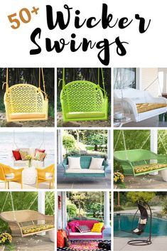 Discover the best wicker porch swings for your outdoor patio. We have plenty of wicker swings and wicker furniture options that you can add to your home and enjoy when the weather is beautiful. Wicker Porch Swing, Wicker Rocking Chair, Outdoor Wicker Patio Furniture, Wicker Dining Chairs, Wicker Sofa, Porch Swings, Rattan, Canopy Swing, Hanging Swing Chair