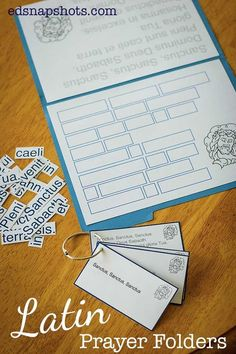 Latin Games and Printables Prayer Folders. Includes version for John 1:1-7.