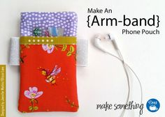 Crochet Phone Pouch Sewing Tutorial: Make an Arm-band Phone Pouch free tutorial - Sewing Tutorial: Make an Arm-band Phone Pouch using a variety of Dritz sewing supplies (soft waistband elastic, pins, tape measure Easy Sewing Projects, Sewing Hacks, Sewing Tutorials, Sewing Crafts, Sewing Patterns, Tutorial Sewing, Bag Tutorials, Purse Patterns, Sewing Tips