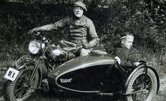 George Brough astride a Brough Superior sidecar