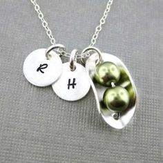 Two Peas in a Pod Necklace with Two Initial Charms - Sterling Silver and Swarovski Crystal Pearls (NP008). Starts at