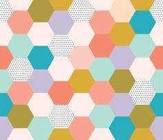 hexagon wholecloth // spring fabric by ivieclothco on Spoonflower - custom fabric