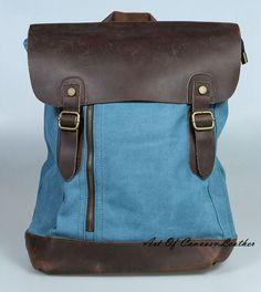 Blue Retro Genuine Leather canvas backpack for women /cute school backpack / cool backpack for college /satchel bag