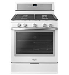 Liking this white ice range! // Whirlpool Gold 5.8 cu. ft. Capacity Gas Range with Rapid Preheat option in White Ice.