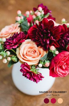 Cranberry and peach! The Perfect Palette: 10 Creative Centerpieces for Weddings | http://eventsbyclassic.com
