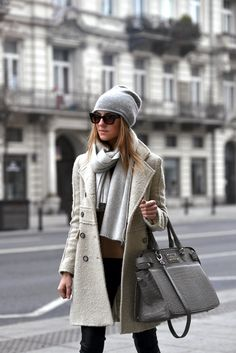 Mix soft creams & light greys for a chic, tonal winter look. Love all of this!