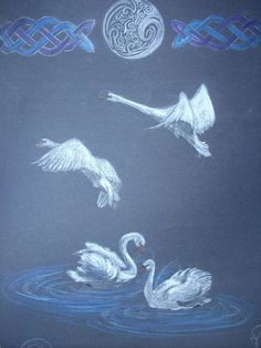 Children of Lir by Artist-Of-Midnight Blackboard Drawing, Chalkboard Drawings, Chalk Drawings, Mythology Books, Celtic Mythology, Swan Pictures, Legends And Myths, Book Of Kells, Fairytale Art