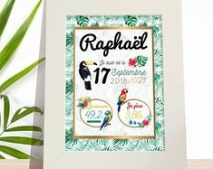 Affiche naissance tropicale - Affiche chambre bébé - Affiche bébé - Décoration chambre bébé - Affiche chambre enfant - Affiche bébé Nursery, Baby Shower, Etsy, Decoration, Hobby Lobby Bedroom, Child Room, Baby Posters, Tropical, Fox