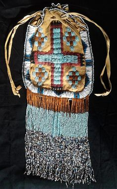 """18"""" Tall Vintage 2 Sided Native American Indian Large Beaded Purse Bag Pouch 