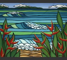 Red Heleconias - Art by Heather Brown of tropical red Heleconia flowers overlooking shades of blue water