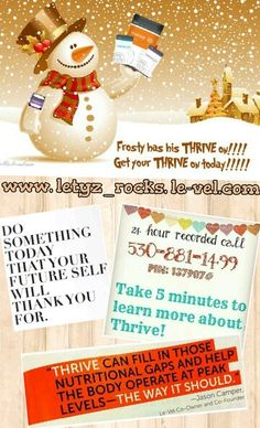 Feel GREAT through the Holidays & enjoy them more than ever with more energy!!! Take a few minutes to listen to how THRIVE can help YOU live a BETTER LIFE!!! Call, text, tweet or message me with questions or for more information!!! You can sign-up FREE, join our team for FREE or place an order @ www.letyz_rocks.le-vel.com