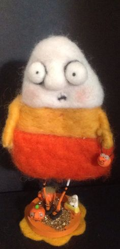 The candy COrN ooak needle felted art doll by papermoongallery