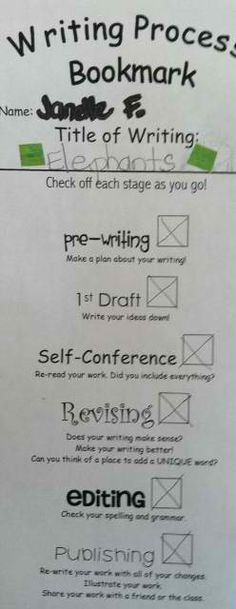 Writing Process Bookmark, could laminate and use over and over.