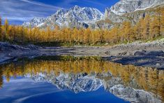 Download wallpapers mountain lake, forest, autumn, mountain landscape, USA