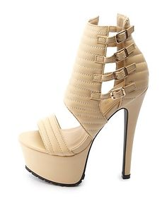 5737b5209fa62 Quilted Ankle Cuff Mega Platform Heels  Charlotte Russe